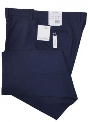 Calvin Klein Navy herringbone Flat Front Pants