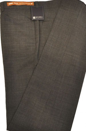 Jack Victor Riviera Charcoal Mini-Check Slim Fit Casual Dress Slacks #R300502
