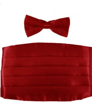 Red Satin Cummerbun And Bow Tie Set