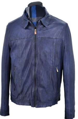 Regency Blue Open Bottom Lambskin Bomber Jacket #REESE-X