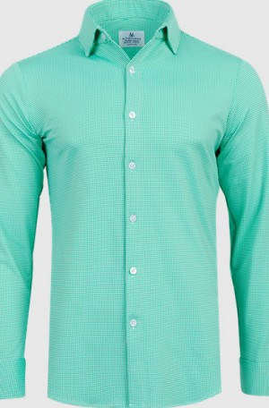 Mizzen+Main Green Check Slim Fit Spinnaker Shirt #S5006