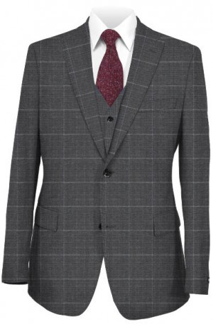 Steven Land Gray Windowpane Suit with Vest #SL3100