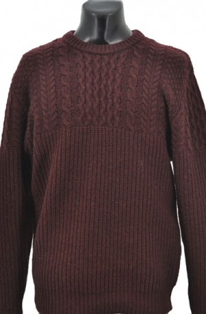 Schott Burgundy 1/2-Cable Knit Sweater #SW1816-BURG