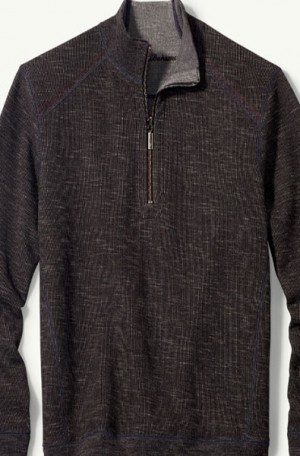 Tommy Bahama Black Heather Flipsider 1/4-Zip Reversible Pullover #T217391-1081