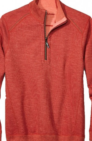 Tommy Bahama Red Heather Flipsider 1/4-Zip Reversible Pullover #T217391-16467