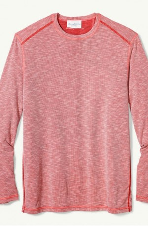 Tommy Bahama Soft Red Flip Tide Reversible Long Sleeve T-Shirt #T219004-14968