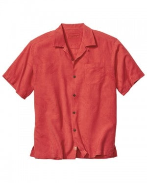 Tommy Bahama Rust Red Silk Short Sleeve Shirt #T312931-2282
