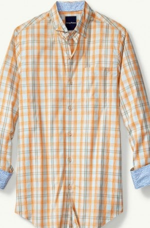 Tommy Bahama Peachy Orange Plaid Cotton Shirt #T316455-15280