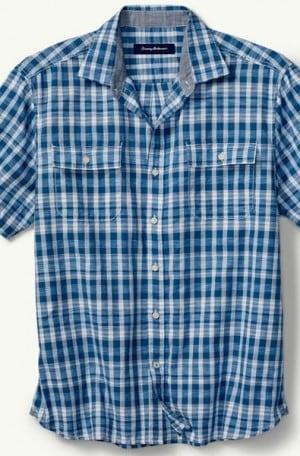 Tommy Bahama Blue Pattern Short Sleeve Camp Shirt #T316509-5478