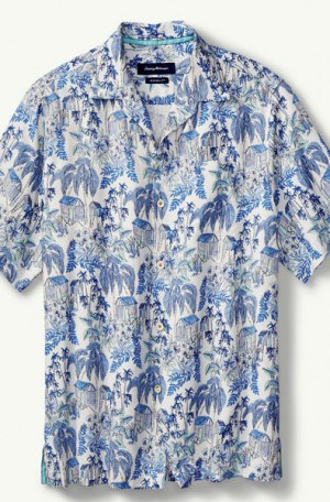 Tommy Bahama Blue Pattern Silk Camp Shirt #T316644-3220