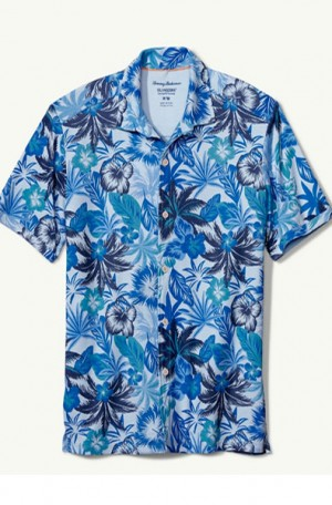 Tommy Bahama Blue Floral Cotton Blend Shirt #T319492-2970