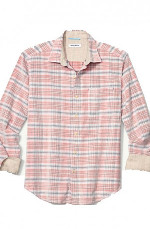 """Tommy Bahama Pink & Gray """"Crazy Cord"""" Long Sleeve Shirt #T320437-15063"""
