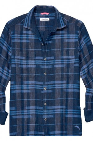 Tommy Bahama Blue Plaid Amparo Long Sleeve Shirt #T320442-1160
