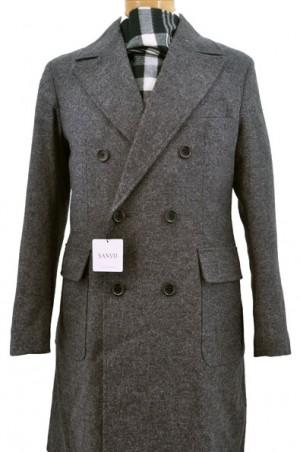 Sanyo Charcoal Textured Tweed Double Breasted Topcoat #Z1A-17-018-08