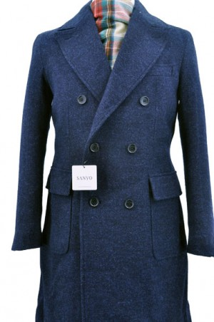 Sanyo Navy Tweed Double Breasted Topcoat #Z1A-17-018-28