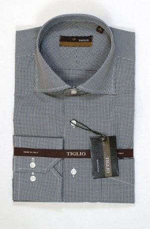 Tiglio Black & White Check Tailored Fit Shirt #4