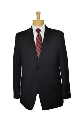Tommy Hilfiger Solid Black Pure Wool Suit Separates