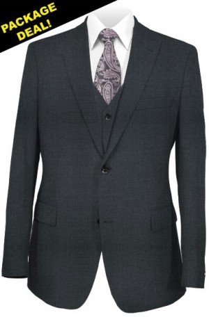 The Perfect Wedding Suit Package – Classic or Slim Fit. Solid Charcoal Vested Suit