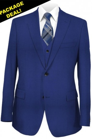 """The Perfect"" Wedding Suit Package - Slim fit Or Classic  Fit Cobalt Blue Vested Suit"