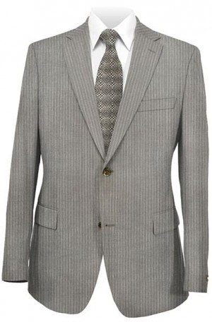 Hickey Freeman Medium Tan Pinstripe Suit 001-311029
