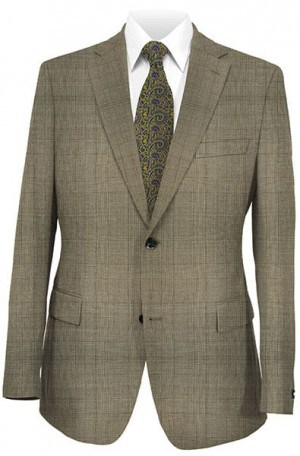 Hickey Freeman Traditional Cut Tan Windowpane Suit 011-303029