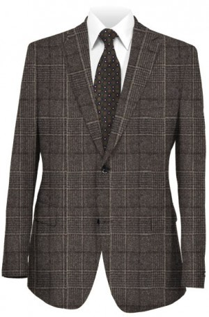 Daniel Hechter Brown Plaid Tailored Fit Sportcoat #064201