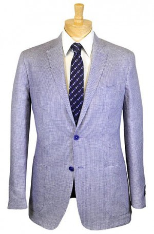 Ike Behar Purple Houndstooth Linen Slim Fit Sportcoat #10-128301-100