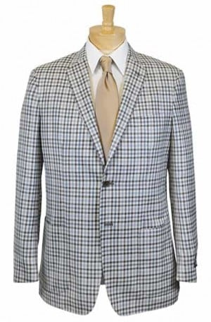 Ike Behar Blue & Brown Check Slim Fit Sportcoat #10-8443-242
