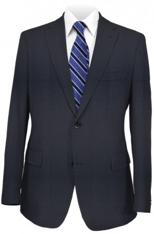 Blujacket Navy Herringbone Tailored Fit Suit 121025