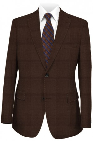 Blujacket Brown Windowpane Tailored Fit Suit 121144