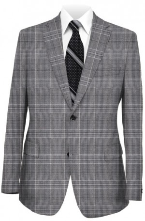 Blujacket Gray Plaid Wool-Silk Tailored Fit Suit 121155