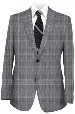 Blujacket Gray Plaid Wool-Silk Tailored Fit Suit #121155