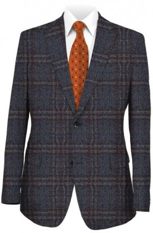 Blujacket Blue-Gray Plaid Tailored Fit Sportcoat #122272