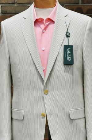 Ralph Lauren Tan & White Seersucker Suit #12VV0023
