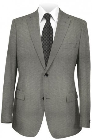 DKNY Silver-Gray Herringbone Tailored Fit Suit 12Y0330