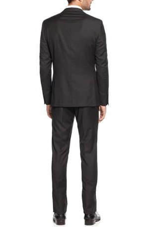 DKNY Black Textured Weave Slim Fit Suit #12Y0763