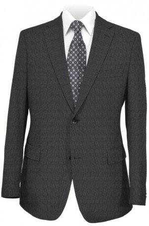 "DKNY Deep Charcoal Micro-Check ""Skinny"" Fit Suit #12Y0819"