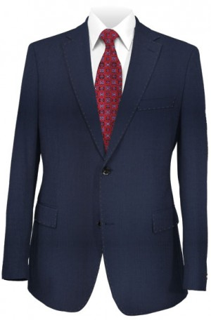 DKNY Navy Herringbone Slim Fit Suit #12Y1083