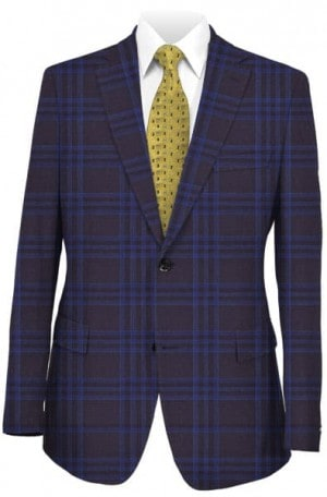 Tiglio Navy & Blue Pattern Tailored Fit Sportcoat #131173-1