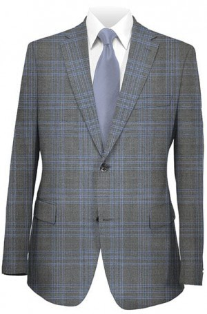 Betenly Blue Plaid Tailored Fit Suit #141015
