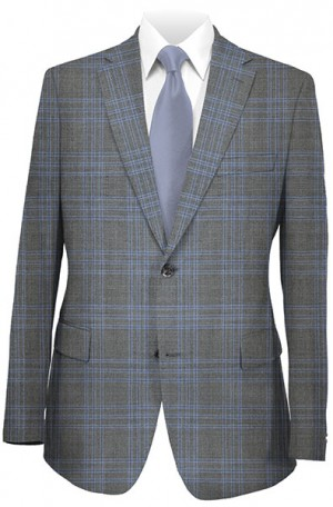 Betenly Blue Plaid Tailored Fit Suit 141015