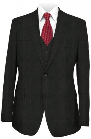 Tiglio Black Pattern 3-Piece Tailored Fit Suit #141589-2