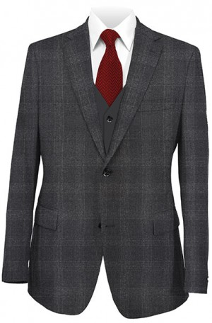 Betenly Charcoal Plaid 3-Piece Suit 142006