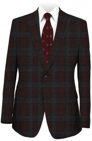Blujacket Burgundy & Gray Pattern Tailored Fit Sportcoat #142208