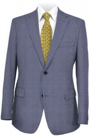 Blujacket Light Blue Windowpane Tailored Fit Suit 151137