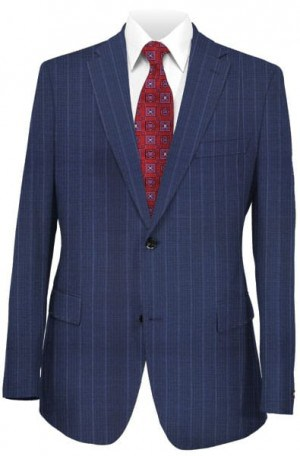 Betenly Blue Pinstripe Tailored Fit Suit #161008