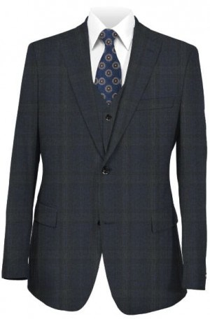 Tiglio Dark Blue & Gray Pattern Tailored Fit Suit #186365-3