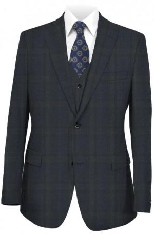 Tiglio Dark Blue & Gray Pattern Tailored Fit Suit #186365-3