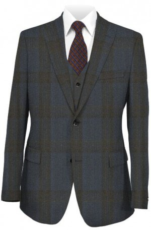 Tiglio Navy & Brown 3-Piece Tailored Fit Suit #188961-3