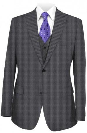 Ralph Lauren Ultraflex Charcoal Stripe Tailored Fit Vested Suit #1RZ2027